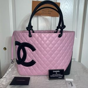 Auth Chanel Cambon quilted calfskin large tote
